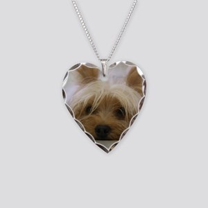 Yorkie Dog Necklace Heart Charm