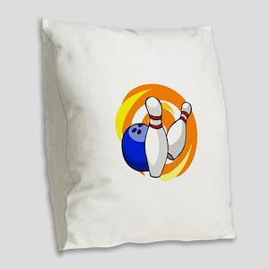 Bowling ball with pins logo Burlap Throw Pillow