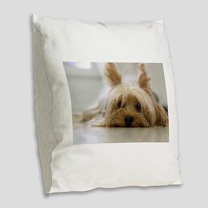 Yorkie Dog Burlap Throw Pillow