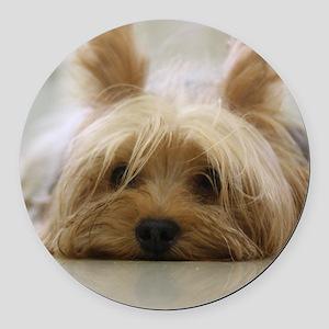 Yorkie Dog Round Car Magnet
