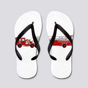 Fire Truck - Traditional ladder fire tr Flip Flops
