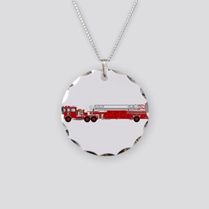 Fire Truck - Traditional lad Necklace Circle Charm