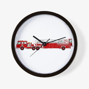 Fire Truck - Traditional ladder fire tr Wall Clock