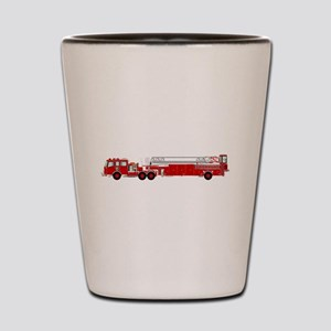 Fire Truck - Traditional ladder fire tr Shot Glass