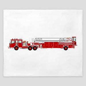 Fire Truck - Traditional ladder fire tr King Duvet