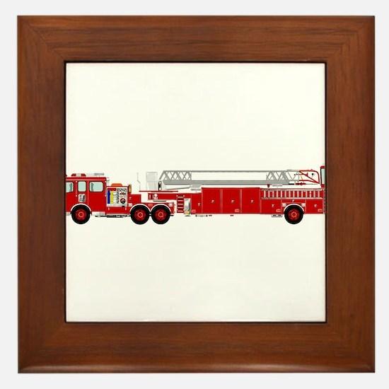 Fire Truck - Traditional ladder fire t Framed Tile