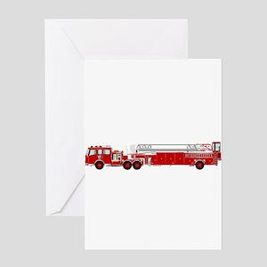 Fire Truck - Traditional ladder fir Greeting Cards