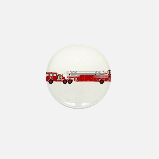 Fire Truck - Traditional ladder fire t Mini Button