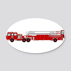 Fire Truck - Traditional ladder fi Oval Car Magnet