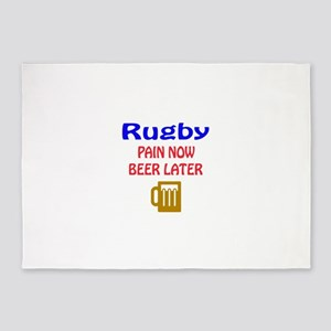 Rugby Pain now Beer later 5'x7'Area Rug