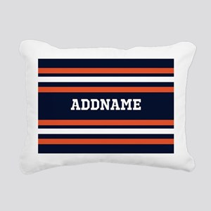 Navy Blue and Orange Spo Rectangular Canvas Pillow