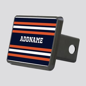 Navy Blue and Orange Sport Rectangular Hitch Cover