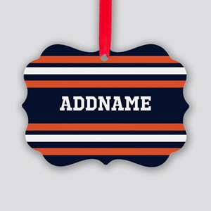 Navy Blue and Orange Sports Strip Picture Ornament