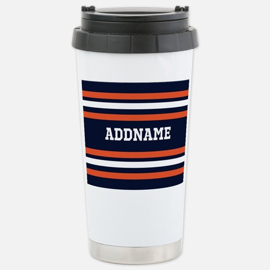 Navy Blue and Orange Sp Stainless Steel Travel Mug