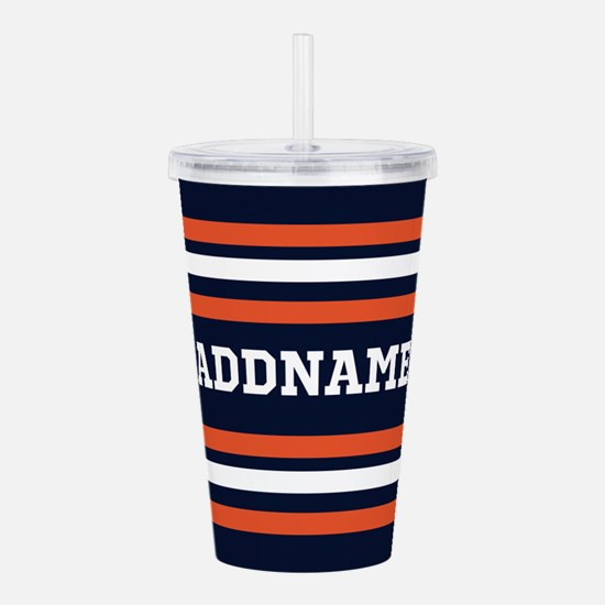 Navy Blue and Orange S Acrylic Double-wall Tumbler