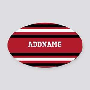 Red and Black Sports Stripes Perso Oval Car Magnet
