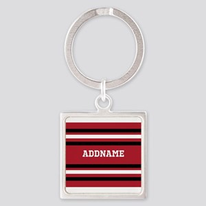 Red and Black Sports Stripes Perso Square Keychain