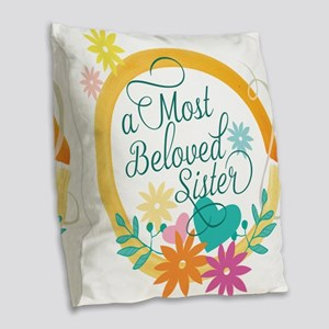 A Most Beloved Sister Burlap Throw Pillow