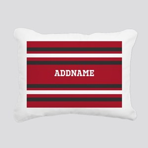 Red and Gray Sports Stri Rectangular Canvas Pillow