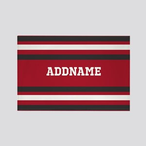 Red and Gray Sports Stripes Perso Rectangle Magnet