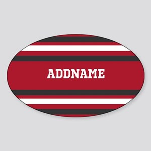 Red and Gray Sports Stripes Persona Sticker (Oval)