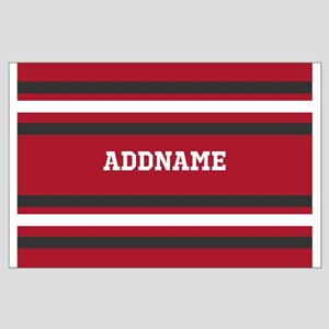 Red and Gray Sports Stripes Personali Large Poster
