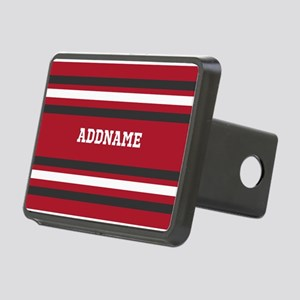 Red and Gray Sports Stripe Rectangular Hitch Cover