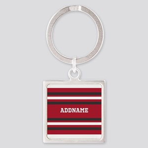 Red and Gray Sports Stripes Person Square Keychain