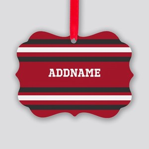 Red and Gray Sports Stripes Perso Picture Ornament