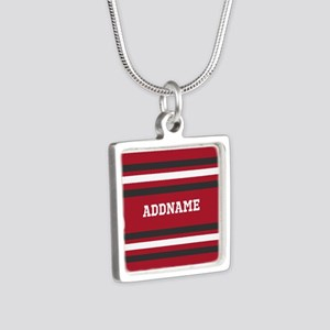 Red and Gray Sports Stripe Silver Square Necklace