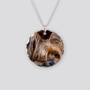 Yorkshire Terrier Dog Small Necklace Circle Charm