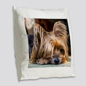 Yorkshire Terrier Dog Small Cu Burlap Throw Pillow