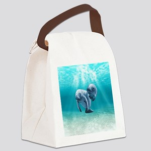 Two Manatees Swimming Canvas Lunch Bag
