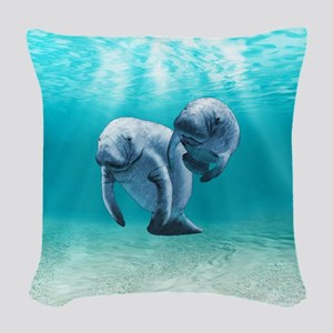 Two Manatees Swimming Woven Throw Pillow