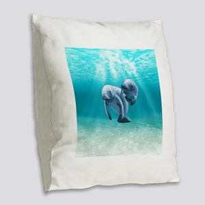 Two Manatees Swimming Burlap Throw Pillow