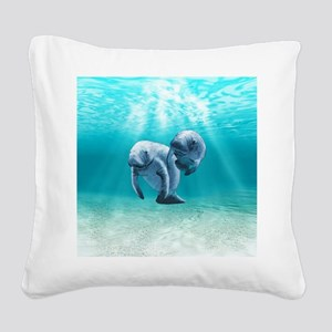 Two Manatees Swimming Square Canvas Pillow