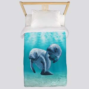 Two Manatees Swimming Twin Duvet