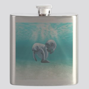 Two Manatees Swimming Flask