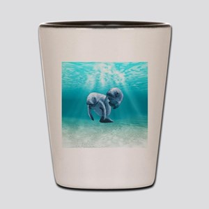 Two Manatees Swimming Shot Glass