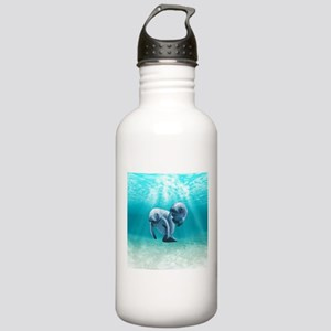 Two Manatees Swimming Water Bottle