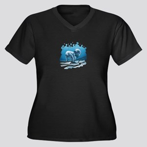 Two Manatees Swimming Plus Size T-Shirt
