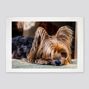 Yorkshire Terrier Dog Small Cute Pe 5'x7'Area Rug
