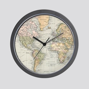 Vintage Map of The World (1892) Wall Clock