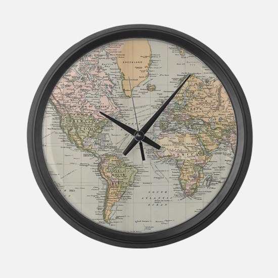 Vintage Map of The World (1892) Large Wall Clock
