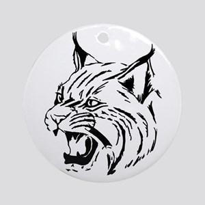 Tiger Wildcat Cat Head Face Lineart Round Ornament