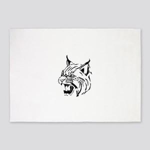 Tiger Wildcat Cat Head Face Lineart 5'x7'Area Rug