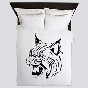 Tiger Wildcat Cat Head Face Lineart An Queen Duvet