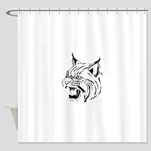 Tiger Wildcat Cat Head Face Lineart Shower Curtain