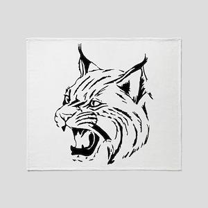 Tiger Wildcat Cat Head Face Lineart Throw Blanket