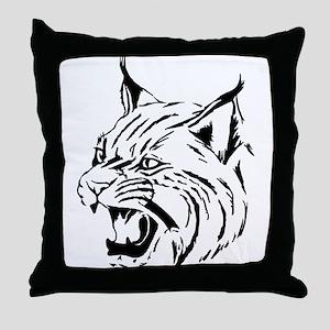 Tiger Wildcat Cat Head Face Lineart A Throw Pillow